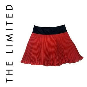 Red Pleated Mini Skirt with Black Satin Waistband